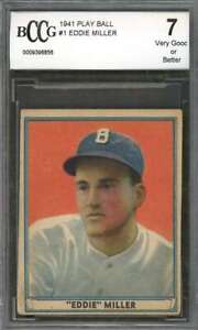 Eddie Miller Card 1941 Play Ball #1 Boston Bees (Vg Or Better) BGS BCCG 7