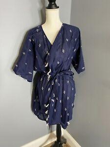 Lucky Brand Womens Sleepwear navy blue cotton tassle Robe Small