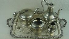 Vintage Plated Tea Set of Capt. Edmond Harvey Circa 1850's With Sterling Tongs