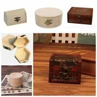 Wood Retro Jewelry Storage Organizer Wooden Case Treasure Chest Box