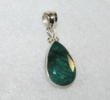 Genuine Emerald Faceted Cabochon Teardrop Pendant Sterling Silver