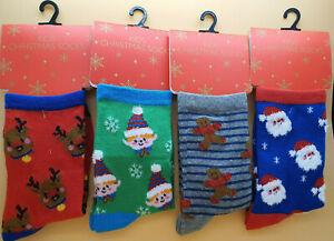 Pack of 4 Children's Christmas/Xmas socks, Sizes 9-12, 12.5-3.5 ,4-6