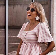 Zara Linen Pink Flounce Peplum Buttoned Up Top T-shirt XS