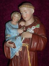 ANCIENNE STATUE RELIGIEUSE/SAINT ANTOINE JESUS/BISCUIT D'ANDENNE/debu XXè/H.33cm