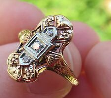 14K RING O ROMANCE VINTAGE ANTIQUE ART DECO FLORAL 3 OLD CUT DIAMOND RING WOW