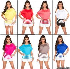 Damen  SHIRT  TOP T-Shirt  Blusenshirt  Sexy Cut Outs  Stripes Glitzer  36 38 40