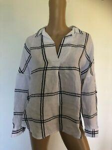 WITCHERY 100% organic linen long sleeve white black checked skipper top 10 EUC