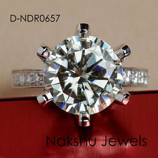 2.00 Ct Vs1 Off White Moissanite Engagement Solitaire 925 Sterling Silver Ring
