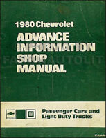 1980 Chevy Advance Shop Manual Impala Camaro Corvette Monte Carlo Malibu Pickup