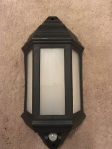 LED Half Lantern Outdoor Wall Light with PIR - Black