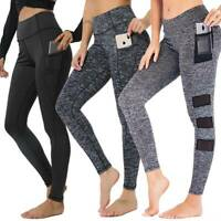 Women High Waist Yoga Pants With Pocket Leggings Fitness Sport Exercise Athletic