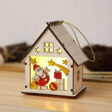 Christmas Tree Lights LED Light Wood House Battery Operated - Colored Santa