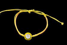 Bracelet bresilien Oeil de Sainte Lucie  resine cuir- Shiva - jaune orange 1009