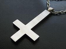et Nox Big Plain Cross+Kette+Schmuckbeutel Edelstahl umgedrehtes Kreuz / KS 024