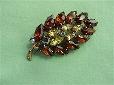 Beautiful Vintage Brown, Pale Yellow & AB Rhinestone Leaf Pin Brooch - Sparkly