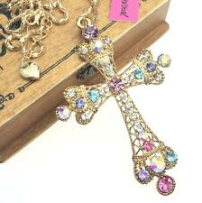 Hot Pendant Betsey Johnson Rhinestone Fashion Cross Europe and America Necklace