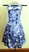 Lisa Jo Silky Polyester Blue Floral Print Knee-length Dress