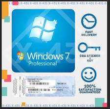 WINDOWS 7 PRO Professional  32/64-BIT, OEM Product Key COA Sticker