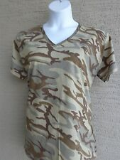 Women's Port & Co.  Cotton S/S V Neck Khaki Multi  Colored Camo Tee Shirt 4X