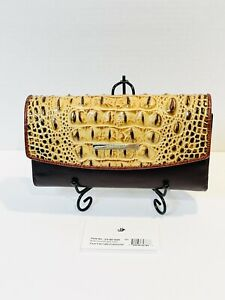 Brahmin Soft Checkbook Wallet in Toasted Almond Croc Embossed Texture NWT