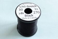 1x30 yards Fil montage FLOCHE UNI STRETCH NOIR 1-0 truite peche mouche thread
