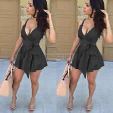 Women Sleeveless Bodycon Evening Party Cocktail Club Mini Dress Black Size M