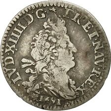 [#472140] Coin, France, Louis XIV, 4 Sols, 1691, Lille, VF(30-35), Silver