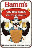 1969 Cubs White Sox Hamm's Beer Vintage Metal Sign 8 X 12 Inch