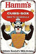 1969 Cubs White Sox Hamm's Beer Baseball Rustic Retro Tin Metal Sign 8 X 12 Inch