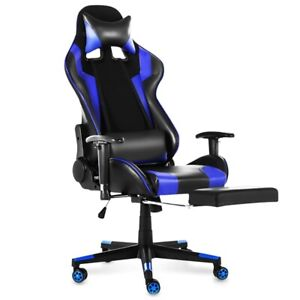 WCG Leather Gaming Chair Cafe Racing Ergonomic Computer Swivel  Footrest Chair
