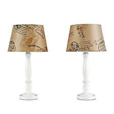 Pair of White Spindle Bedside Table  Lounge Lamps + Brown Stamp Light Shades