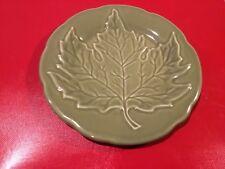 "Longaberger Pottery Leaf Plate Falling Leaves Sage Green 6.75"" Retired"