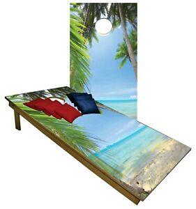 Tropical Beach Sun Ocean CORNHOLE BEANBAG TOSS GAME w Bags Game Boards Set