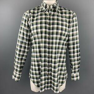 HAMILTON Size L Olive Plaid Cotton Button Down Long Sleeve Shirt