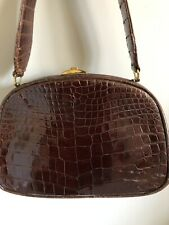 Vintage Croc Embossed single strap brown bag with gold hardware