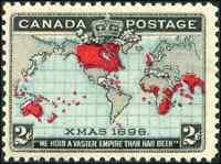 Canada #86 mint F-VF OG NH 1898 Map/Xmas 2c black,blue & carmine CV$115.00