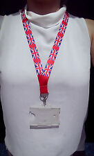 20mm  Hand made in UK Distorted UNION JACK neck strap lanyard for ID keys