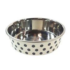 LARGE STAINLESS STEEL RUBBER POLKA DOT FOOD WATER DOG PET BOWL