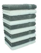 Betz lot de 10 serviettes débarbouillettes Premium: blanc & gris anthracite