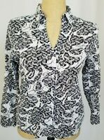 Chico's Top Size 1 Medium Black White Lace Eyelets Button Down Long Sleeve Shirt