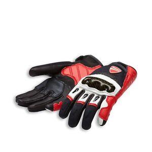 Ducati Alpinestars Company C1 Pelle Tessuto Guanti Rosso Bianco Nuovo