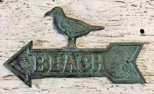 Beach Sign Plaque Arrow Shaped with sea bird seabird made of cast iron metal