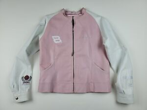 Dale Earnhardt Jr #8 Women's Pink & White Jacket Wilson Leather Size Large NWOT
