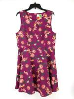 FERVOUR Fit & Flare Dress Purple Floral Sleeveless ModCloth Size XL