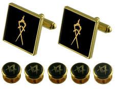 Inner-Guard Gold Cufflinks Masonic 5 Shirt Dress Studs Box Set
