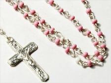 "10"" Czech vintage tiny silver tone beaded religious rosary crucifix pendant"