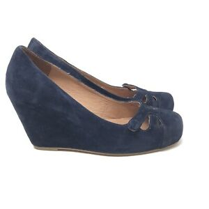 Jeffrey Campbell Women's Navy Blue Suede Wedge Pump Laser Cutouts Size 7.5 Shoes