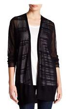 Eileen Fisher NWT318 Black Viscose  Long Sleeve Long Straight Cardigan Sz.S/P,M