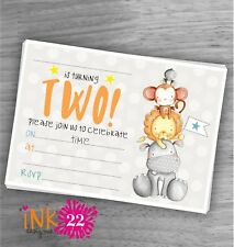 Cute Kids Baby Boy Girl Invitations Pack Jungle Second 2nd Birthday Party X10