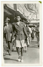 Black African American Lady City Street Vendor Photography Real Photo Postcard